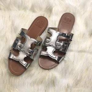 Tory Burch Anchor Slide Silver Metallic Size 9